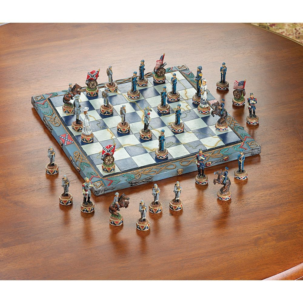 Civil War Chess Set. Each playing piece of this