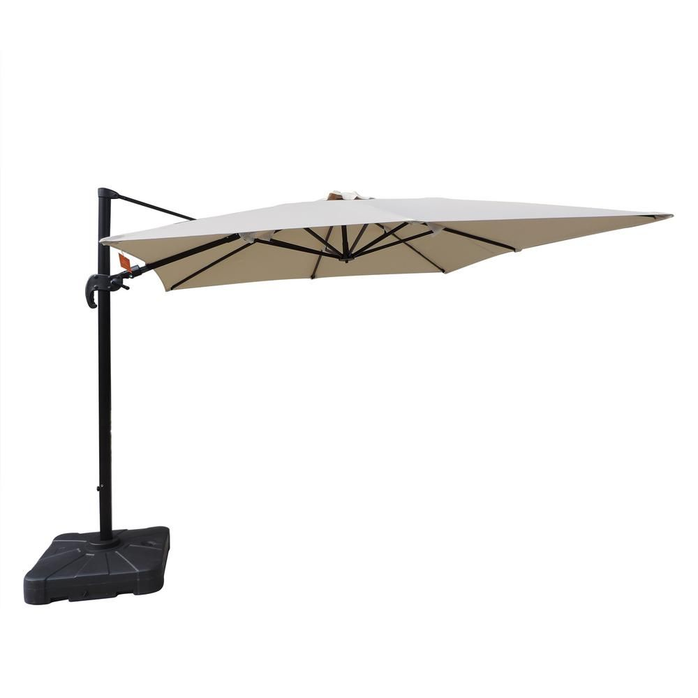 Island Umbrella Santorini Ii 10 Ft Square Cantilever Patio Umbrella In Beige Sunbrella Acrylic Nu6045 Offset Patio Umbrella Cantilever Umbrella Cantilever Patio Umbrella