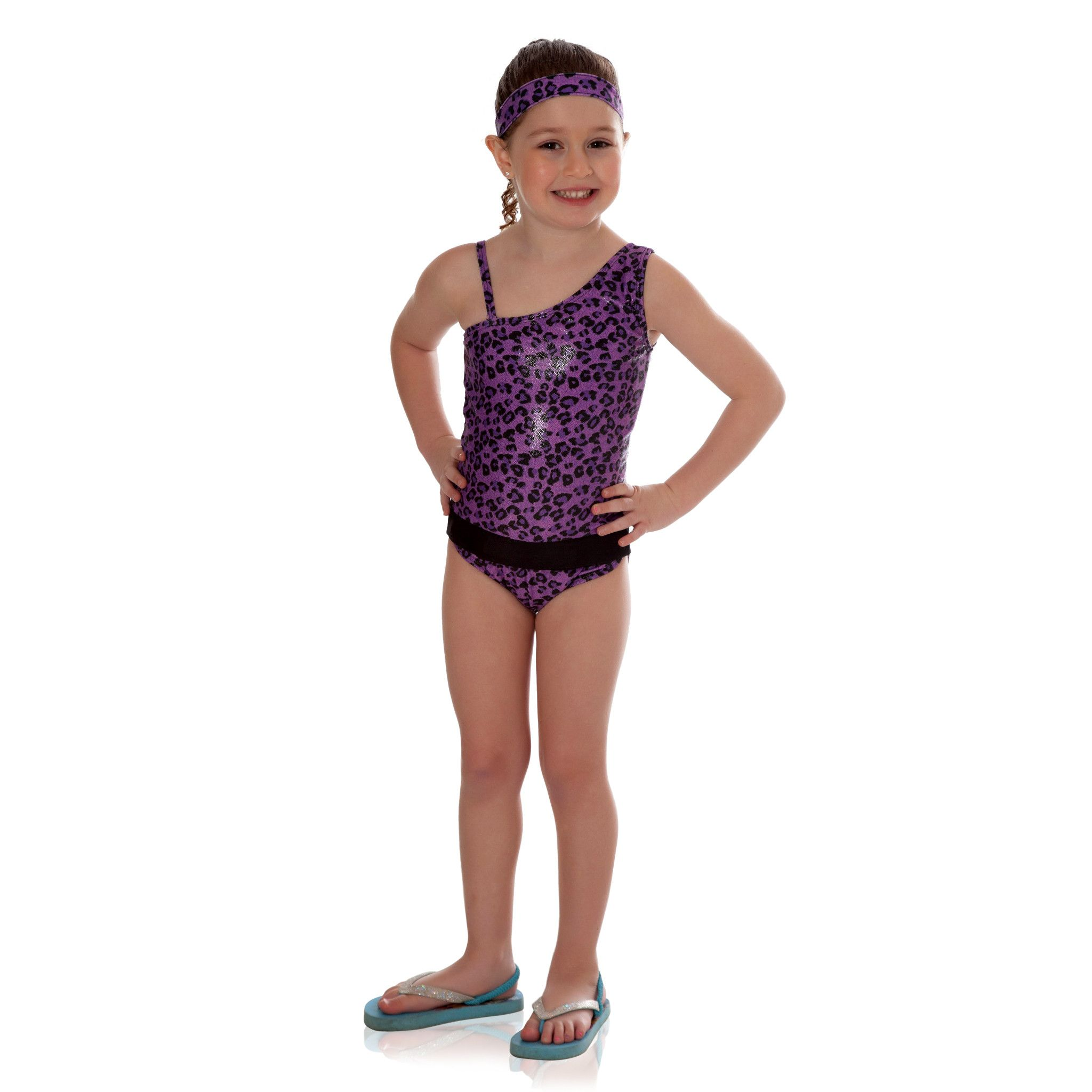Purple Cheetah ICED with Black One-Shoulder Bathing Suit