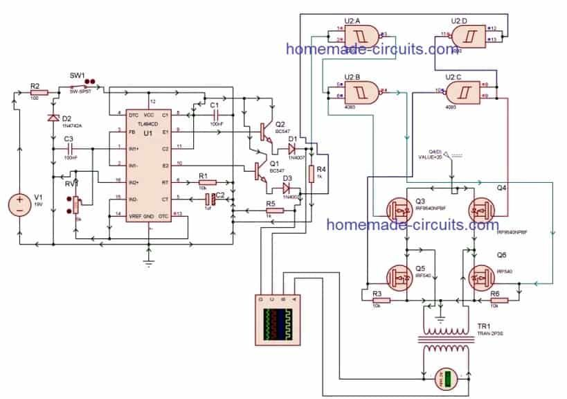 PWM Inverter Using IC TL494 Circuit | Homemade Circuit