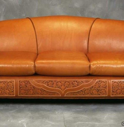 Tooled Leather Sofa   Western Sofa   RusticArtistry.com