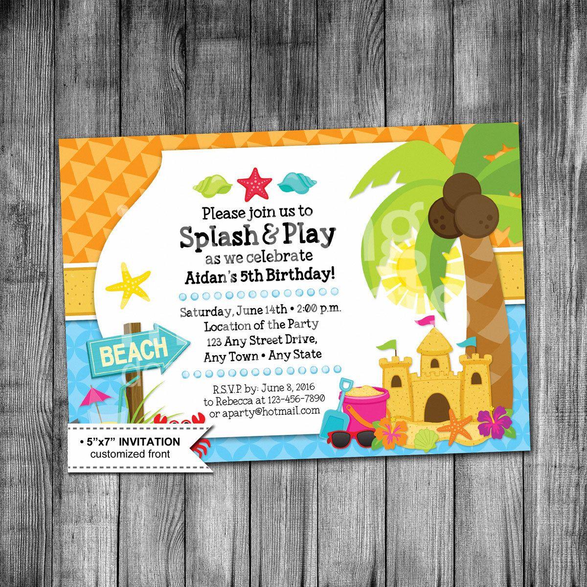 free printable camouflage birthday party invitations%0A Kids Beach Birthday Invitation   Beach Party Invitation   Sandcastle    Shells   Starfish   Crab