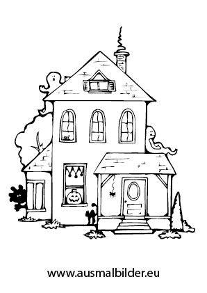 Ausmalbild Gespenstisches Haus | Malvorlagen | Pinterest | Haus