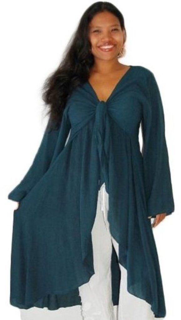 Lotustraders Blouse Jacket Shirt Lagenlook Ruffled Long Sleeve Teal One Size A160