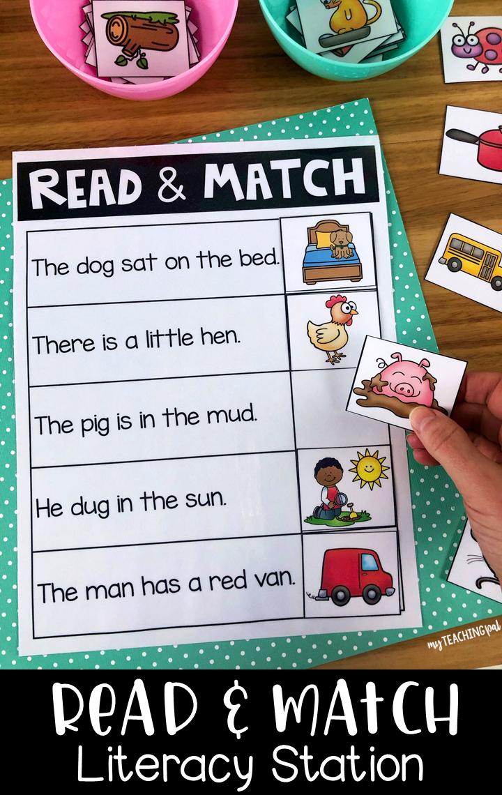 Read And Match Literacy Center Reading Comprehension Kindergarten Kindergarten Reading Activities Preschool Reading