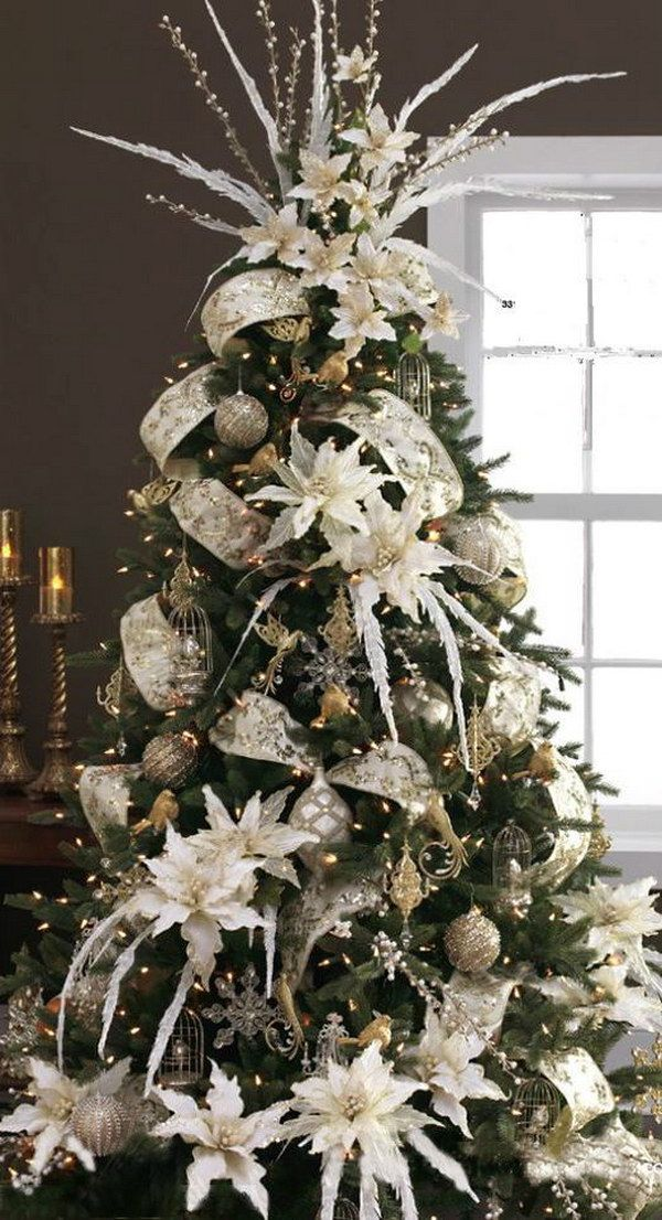 Christmas Tree with Silver and White Decoration Christmas Trees - white christmas tree decorations