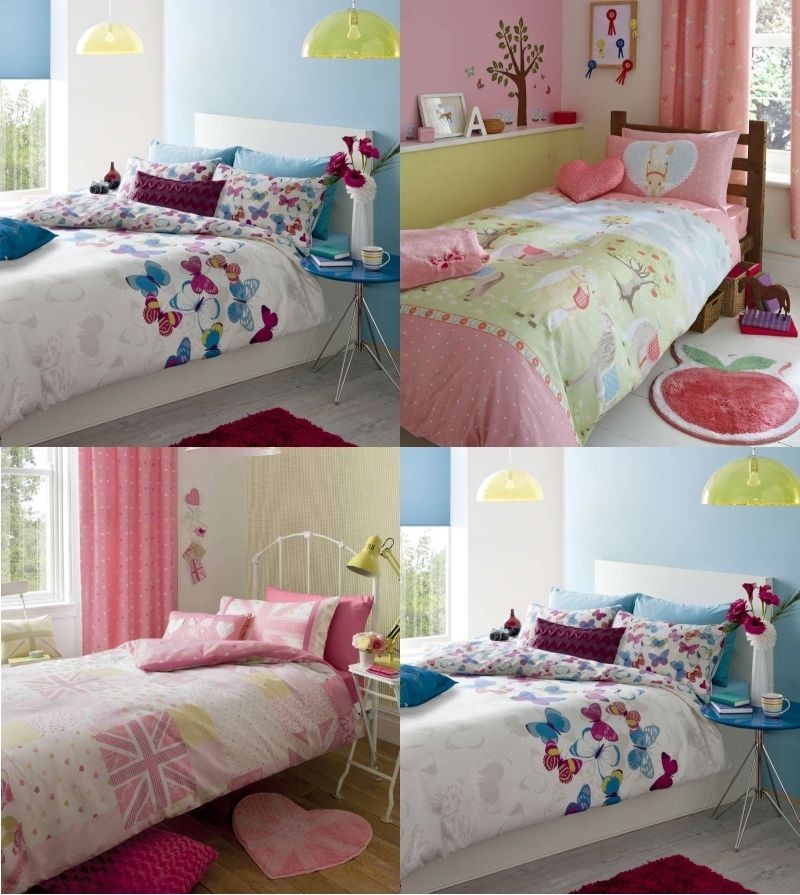 Girls Kids Children's Bedding Single Duvet Cover Pink Purple Hearts Butterflies
