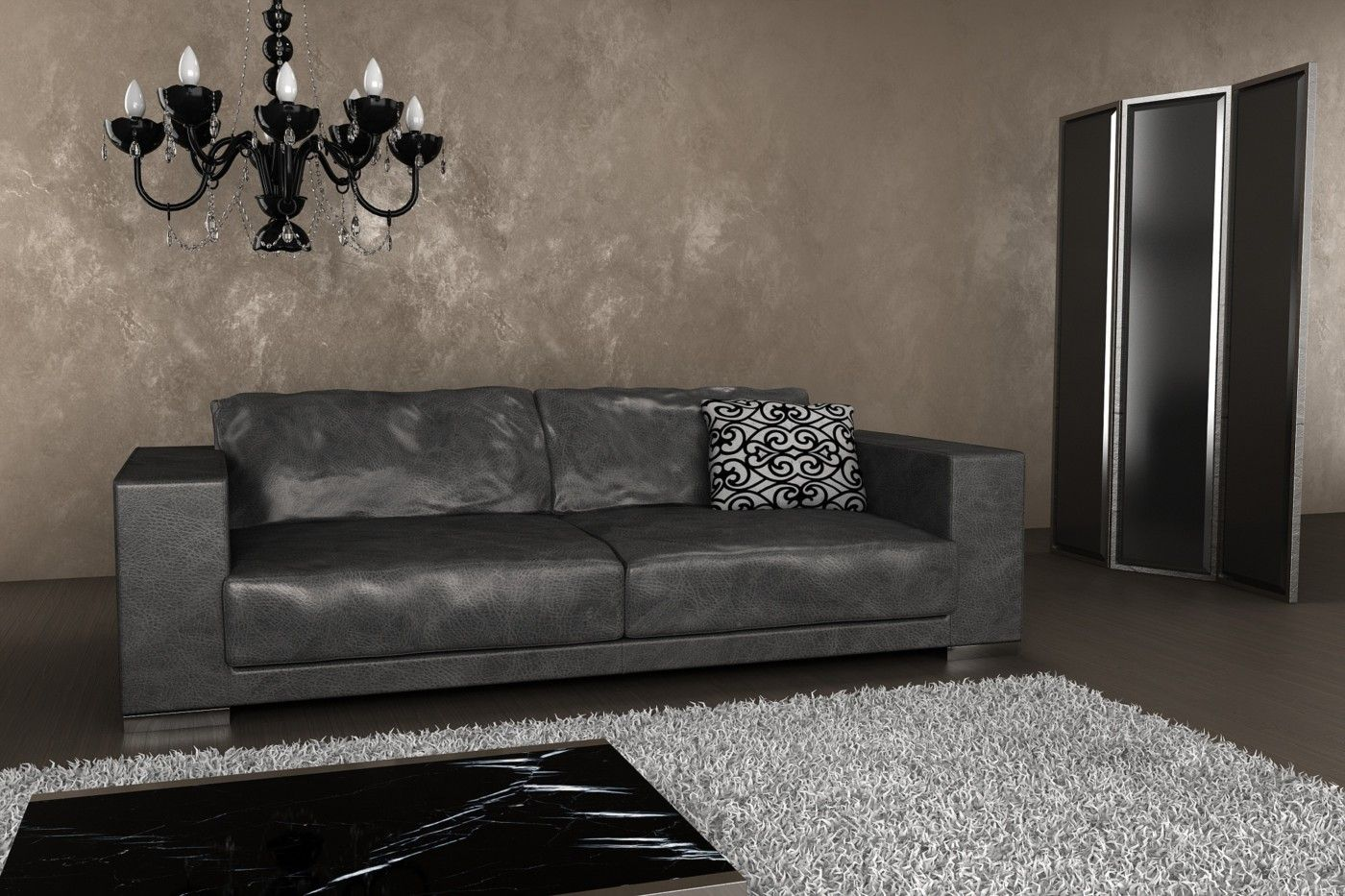 Grey Leather Sofa | Luxury Dark Grey Metropolitan Penthouse Leather Sofa