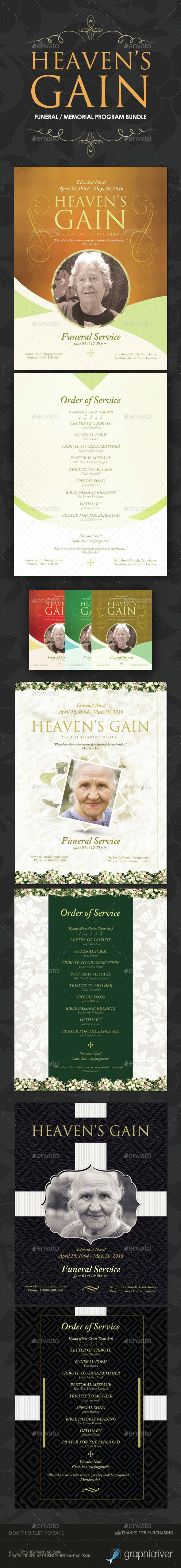 Funeral / Memorial Program Templates - BUNDLE | Funeral y Photoshop