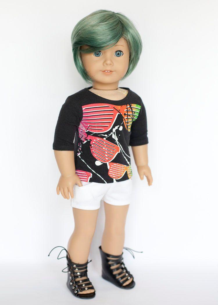 American Girl doll upcycled 80s sunglasses T shirt - black