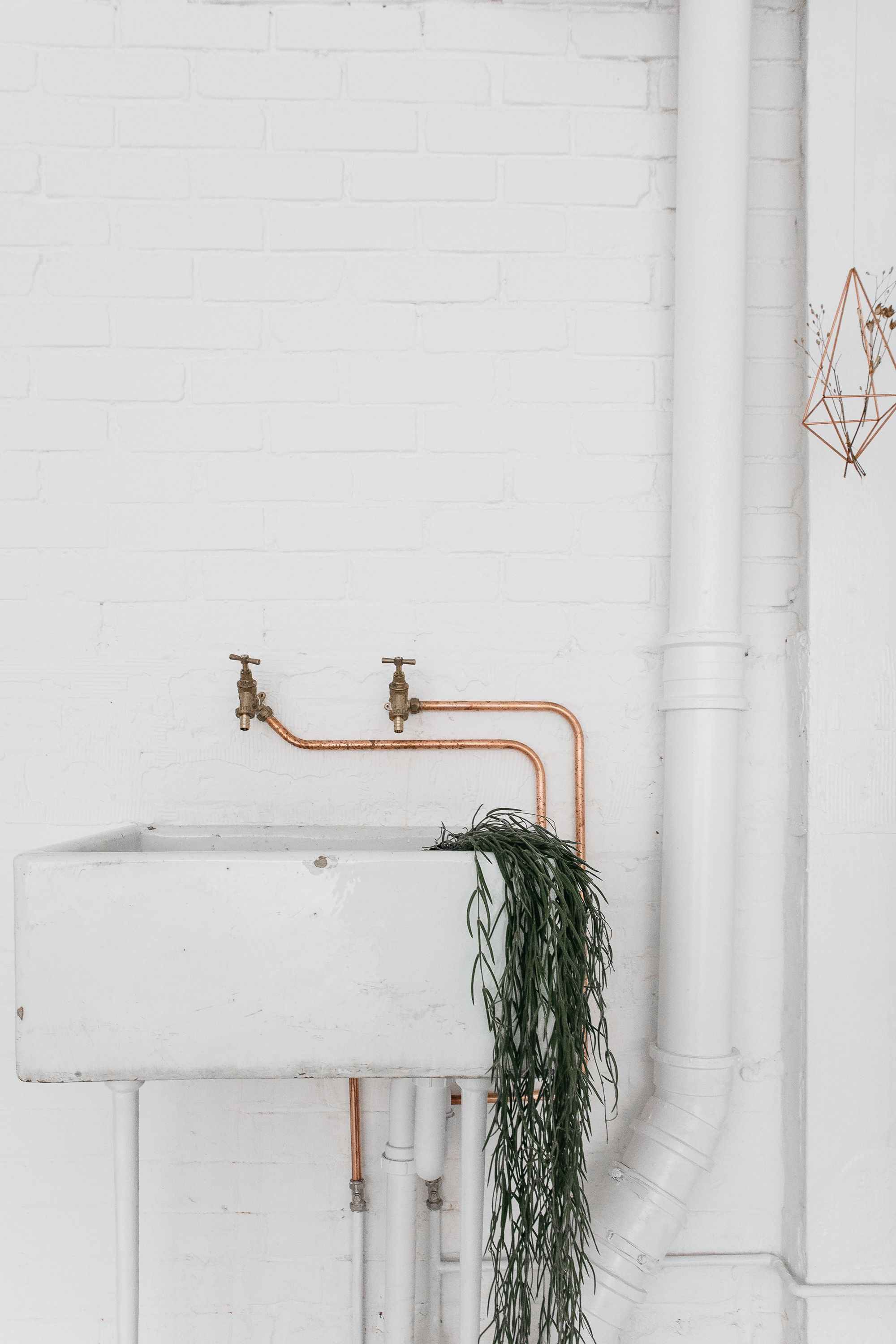DIY copper sink faucet and DIY sink made from an antique basin ...