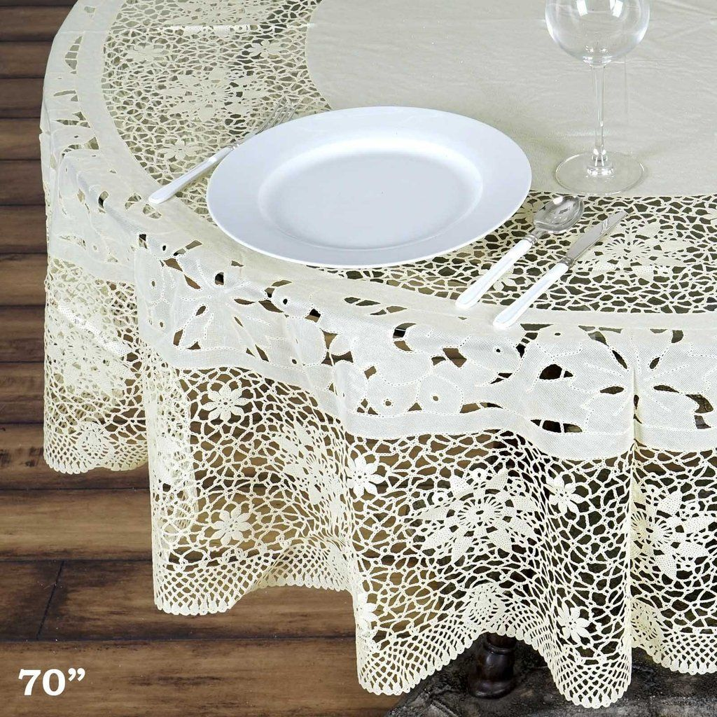 70 Ivory 10 Mil Thick Lace Vinyl Waterproof Tablecloth Pvc Round Disposable Tablecloth Vinyl Tablecloth Table Cloth Table Covers