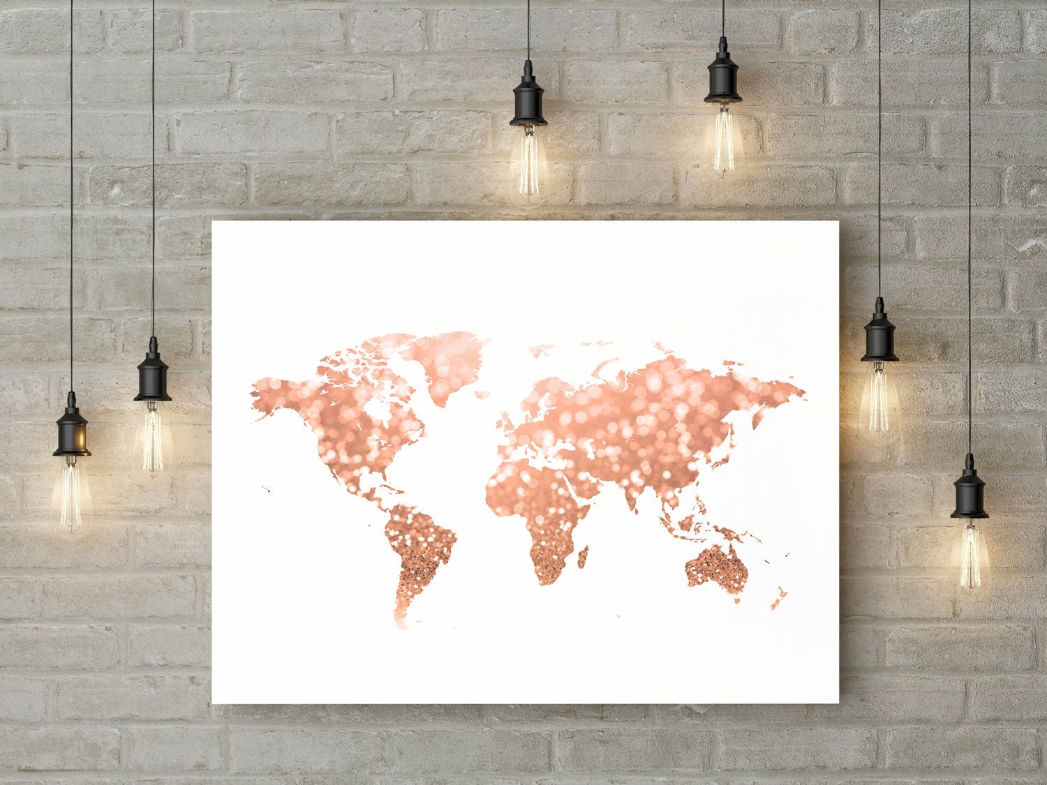 Leuchtbild Kinderzimmer ~ Rose gold world map print pink and gold map art travel decor gold