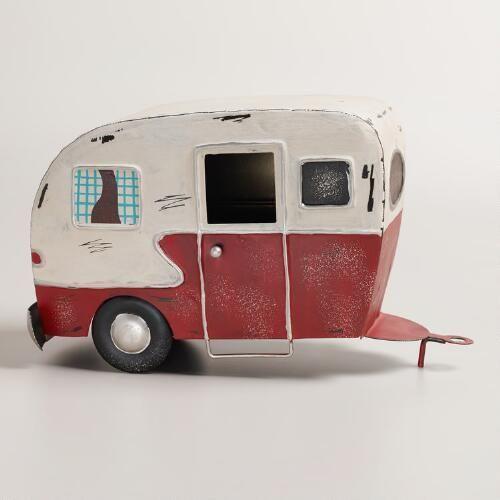 Vintage Effect Metal Tin Cream /& Red Caravan Camper Trailer Caravan Model