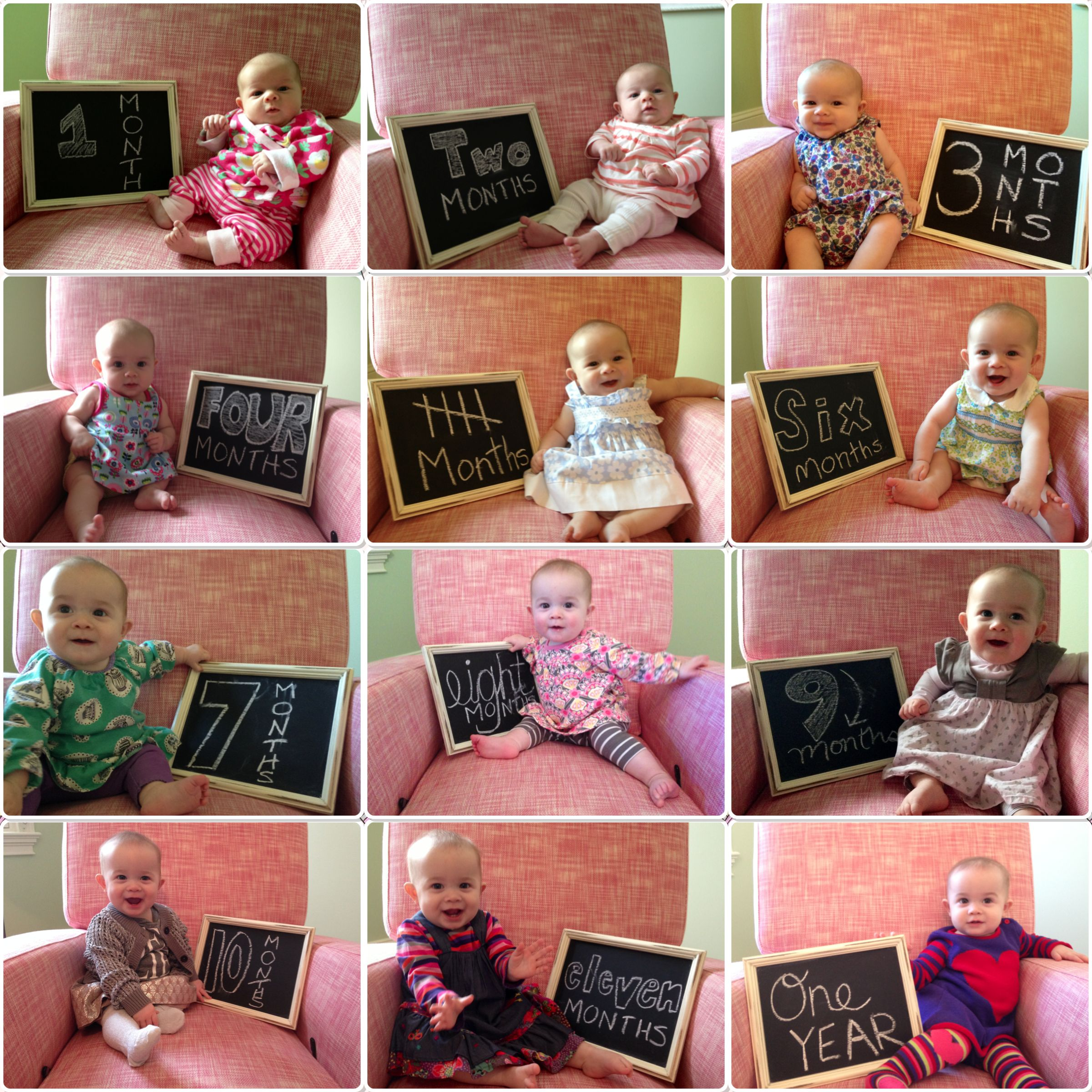 1st birthday pictures, month by month baby pictures, chalkboard ...