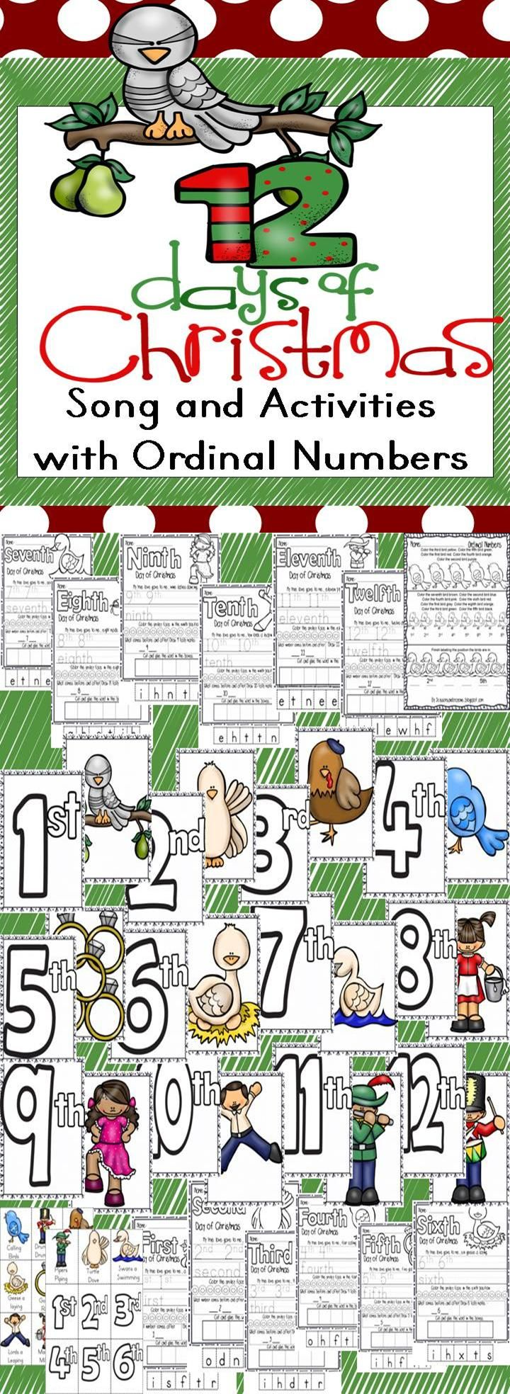 12 Days Of Christmas Song And Activities With Ordinal Numbers Printables Song Cards Game Days Of Christmas Song 12 Days Of Christmas Christmas Kindergarten [ 1968 x 720 Pixel ]