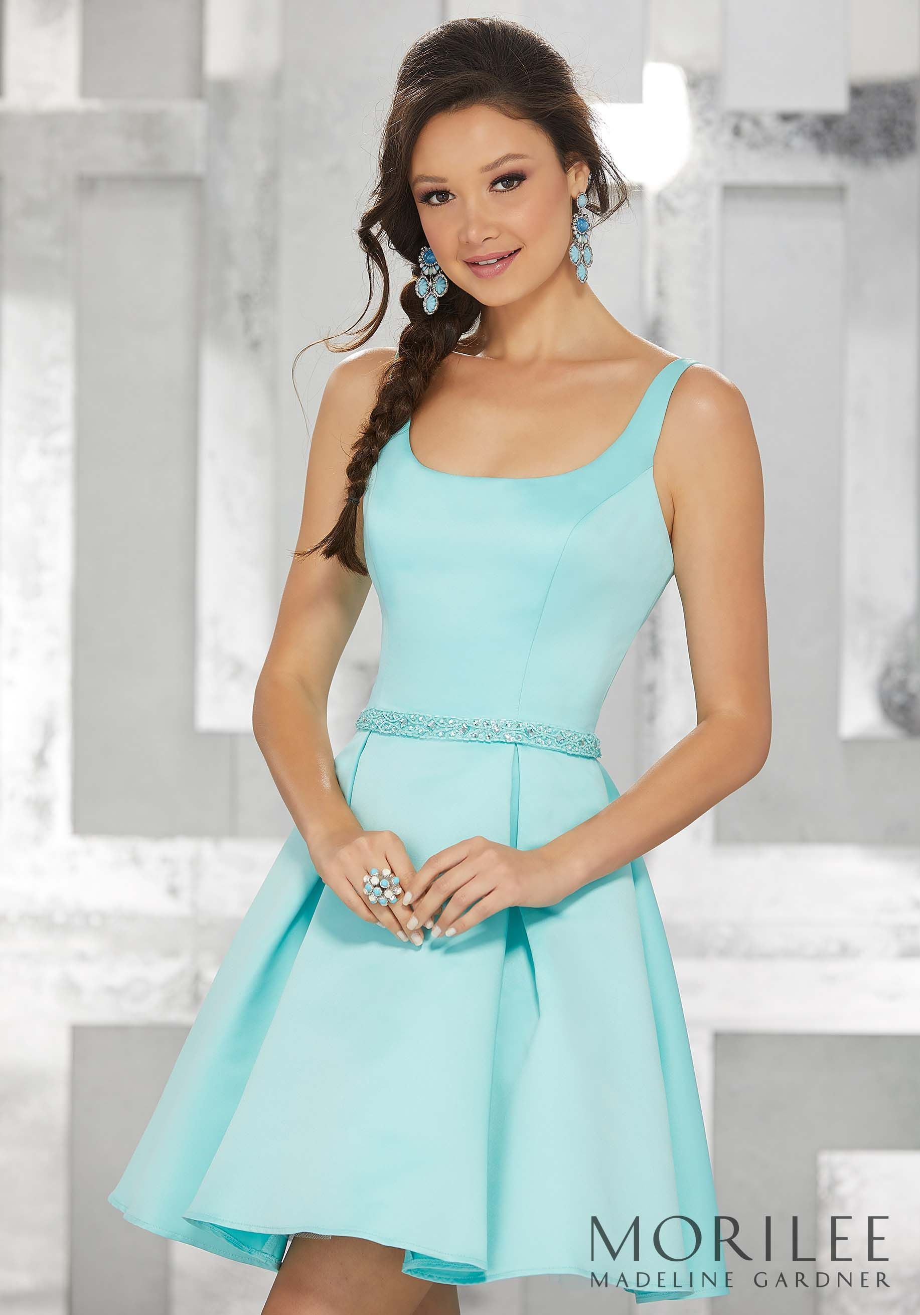 Aqua Blue Satin Party Dress with Scoop Neckline and Beaded Waistband ...