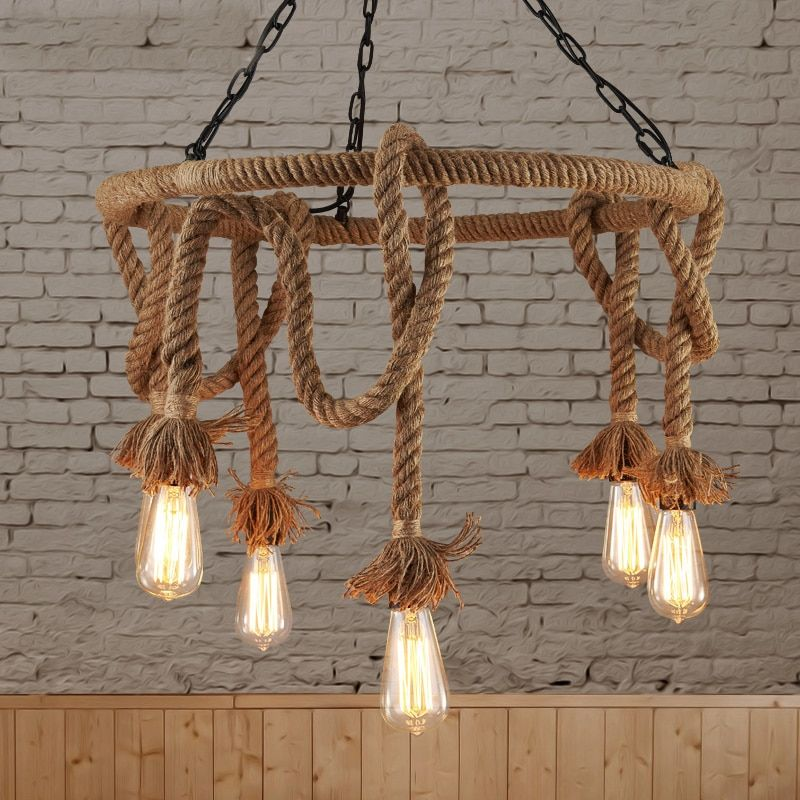 Loft Nordic Retro Hemp Rope Pendant Light American Country