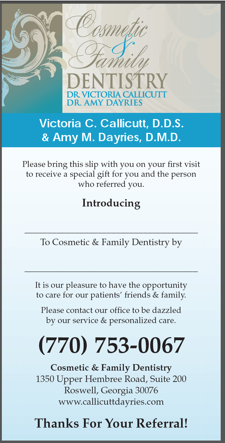 Example Of A Dentist Referral Rack Card Dental Marketing Family Dentistry Referral Cards