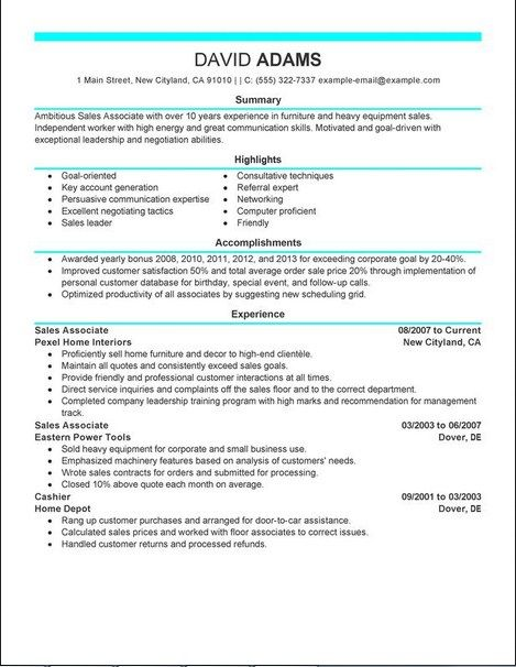 pics photos sample sales retail associate resume experience - sample resume retail sales