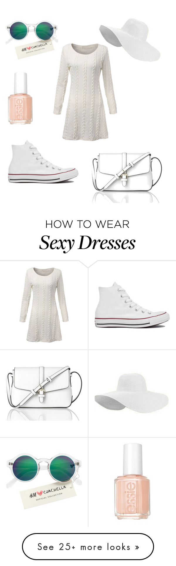 """""""simple white sneakers"""" by izzy-clothes on Polyvore featuring Converse, L.K.Bennett, H&M and Essie"""