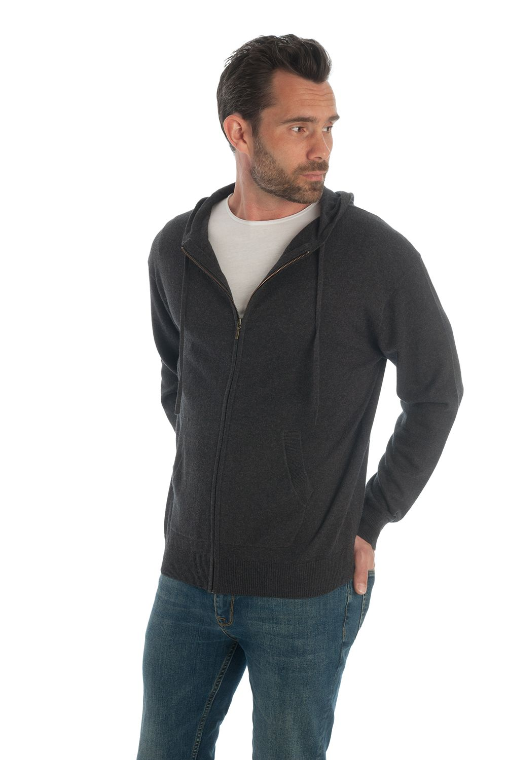 Bellettini Cotton Cashmere.Charcoal Cashmere Cotton Hooded Cardigan Adorawool Knitwear