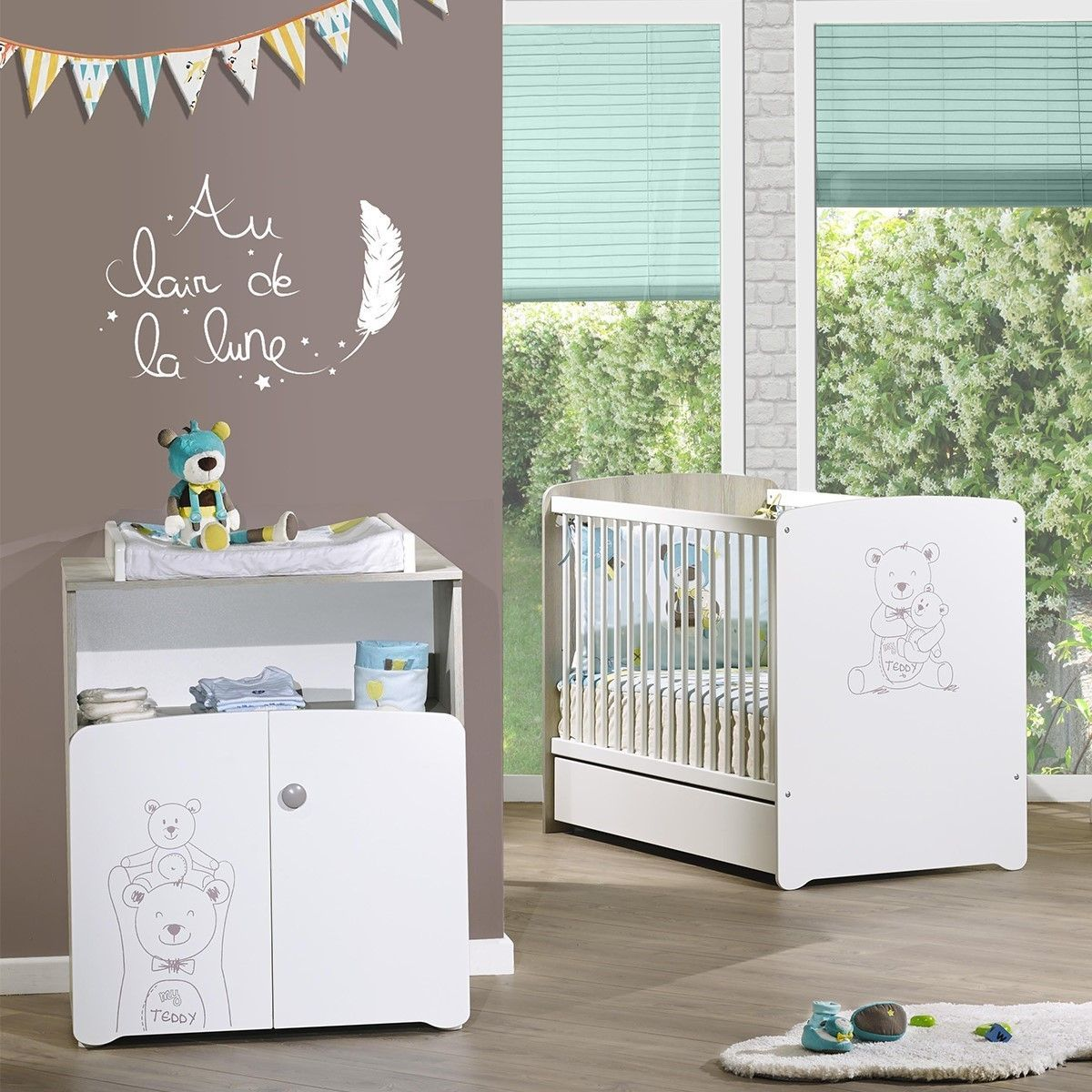Chambre Bebe Duo Lit 120x60 Et Commode A Langer Teddy Baby Price