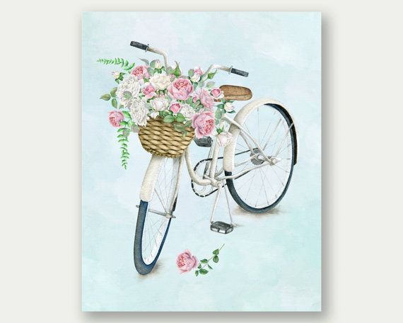 Bicycle Print Floral Bicycle Illustration by TheSunshineGarden