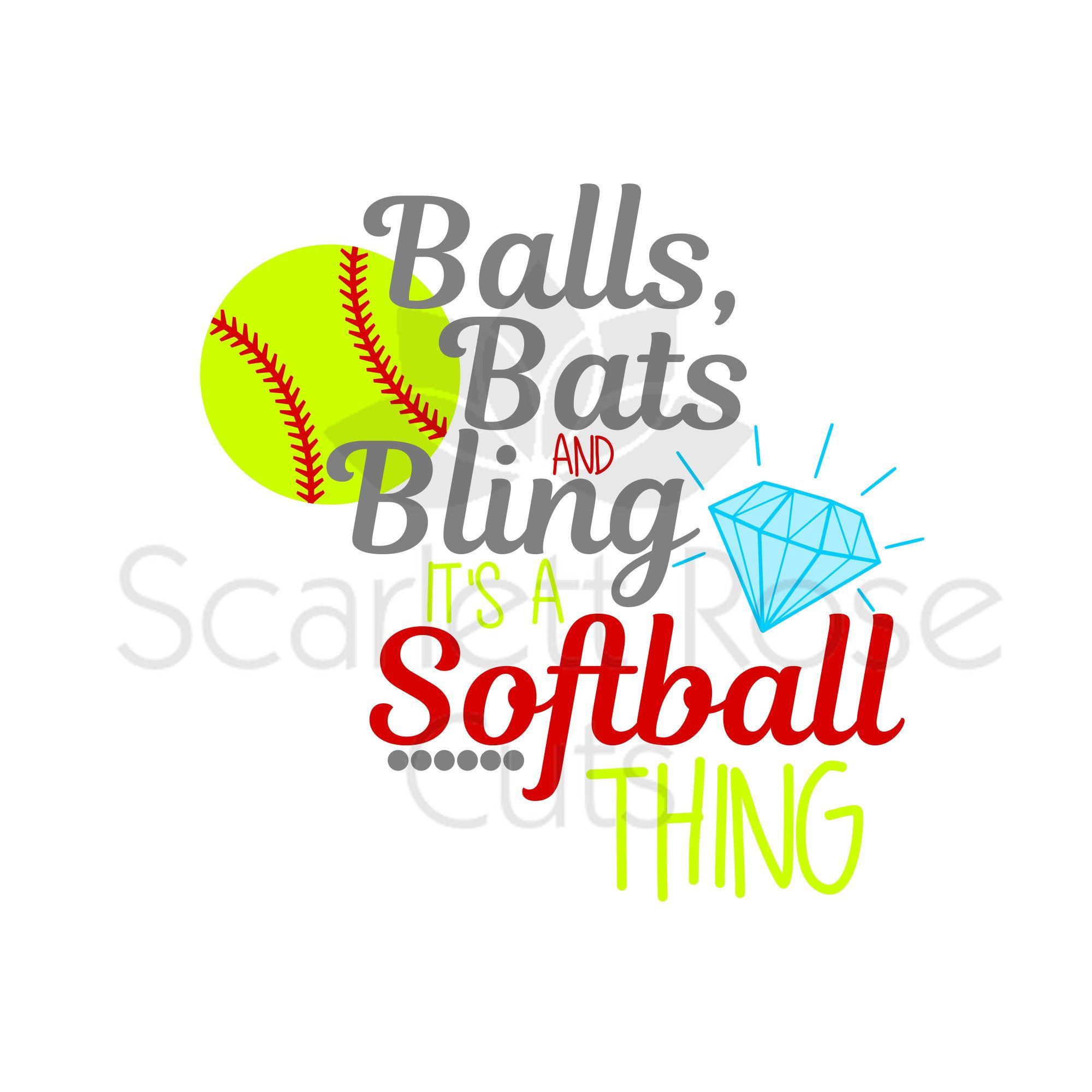 Balls Bats And Bling Its A Softball Thing Ball Player Etsy Softball Softball Shirts Softball Mom