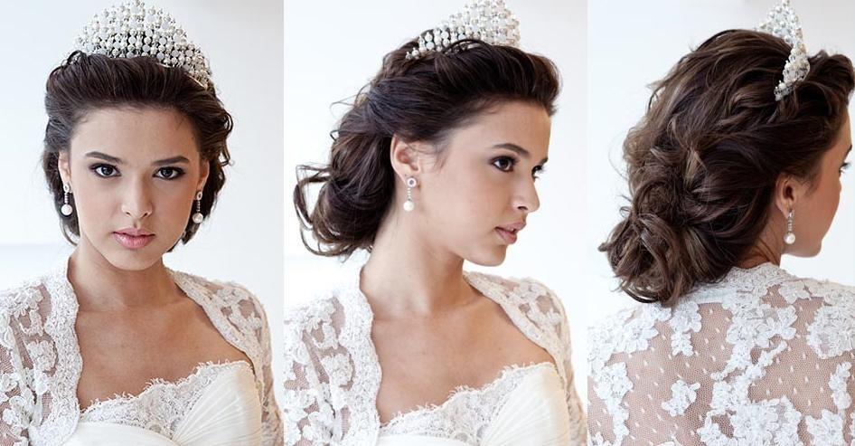 penteados para noivas presos e com coroa