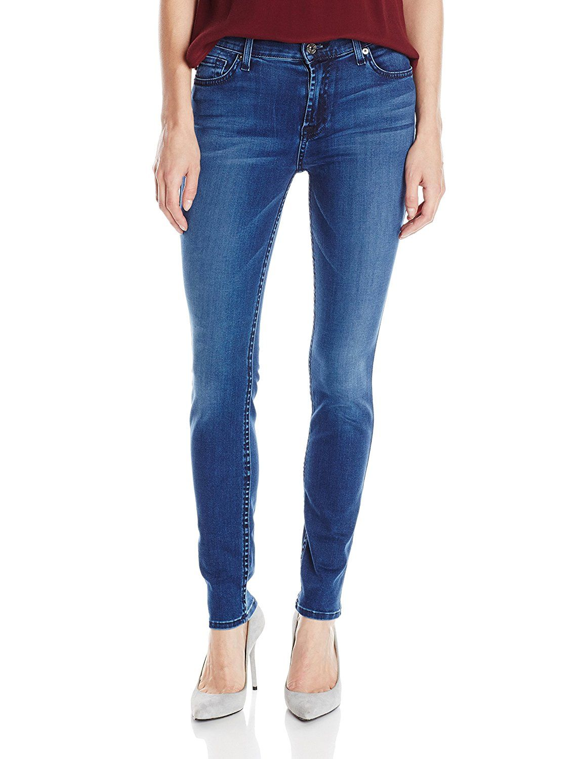 7 For All Mankind Women's Skinny Jean In Pure Medium Vintage Sateen ** Continue to the product at the image link.