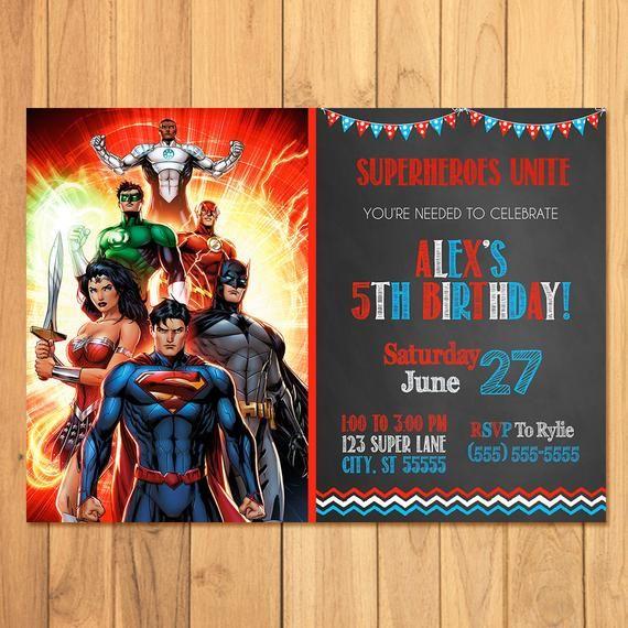 Superhero Invitation Superhero Justice League Birthday Batman