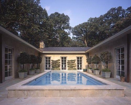 I Love U Shaped Homes Built Around A Pool This Pool Is Ho Hum But Still Like The Plan Pool House Plans U Shaped Houses U Shaped House Plans