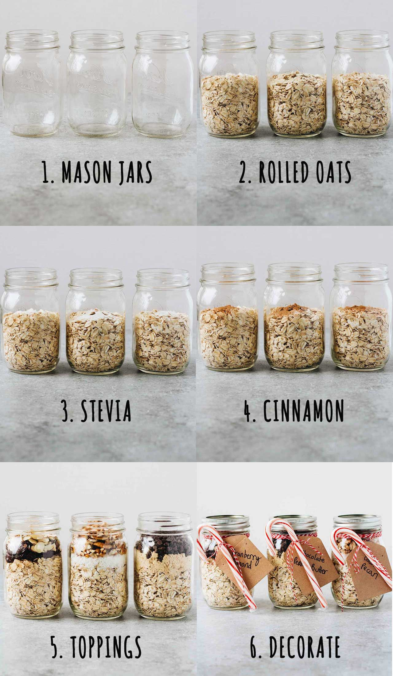 Holiday overnight oats diy mason jar gifts overnight oats super