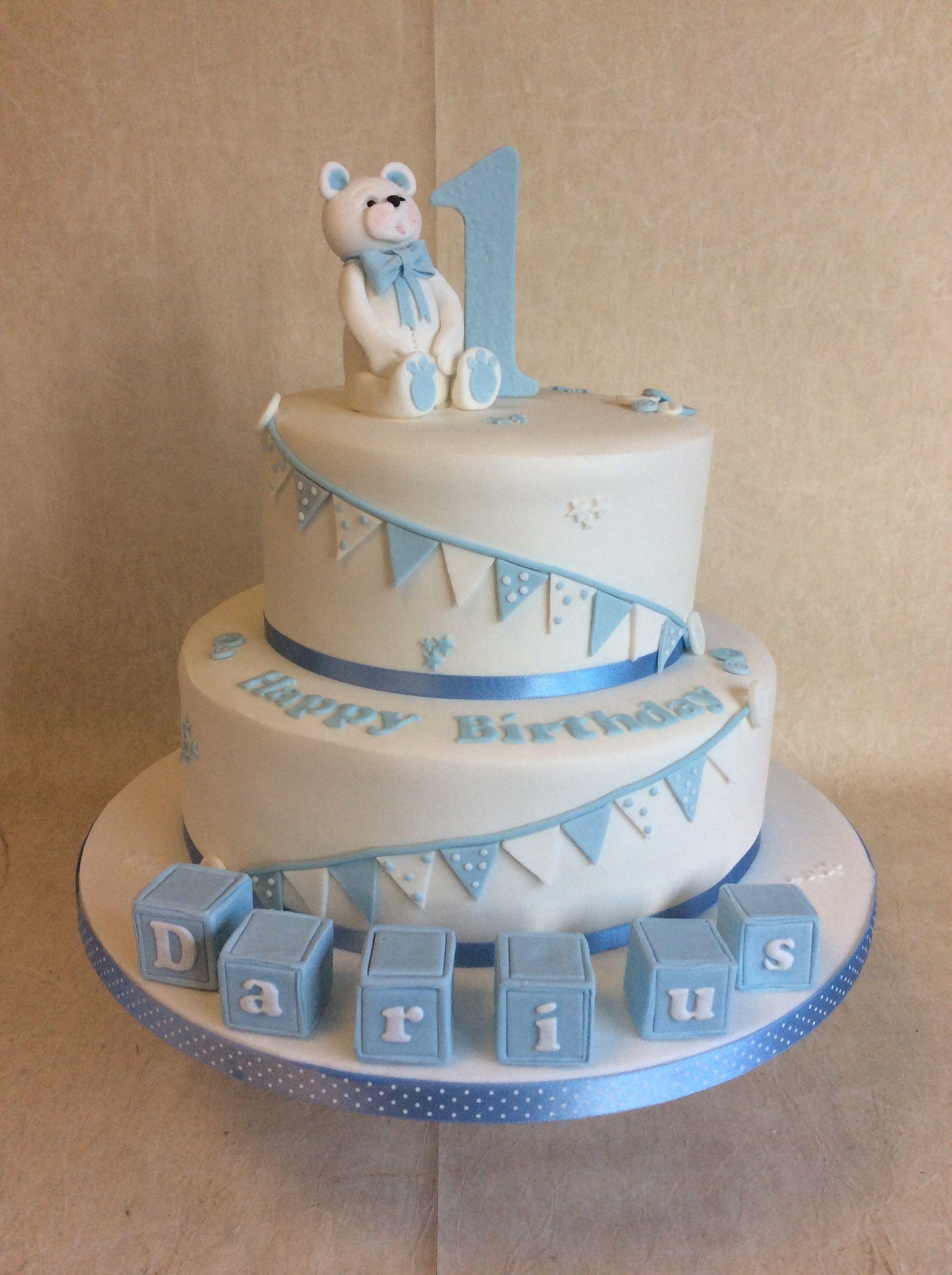 Superb 2 Tier Baby Blue White 1St Birthday Cake With Blocks Bunting Personalised Birthday Cards Sponlily Jamesorg