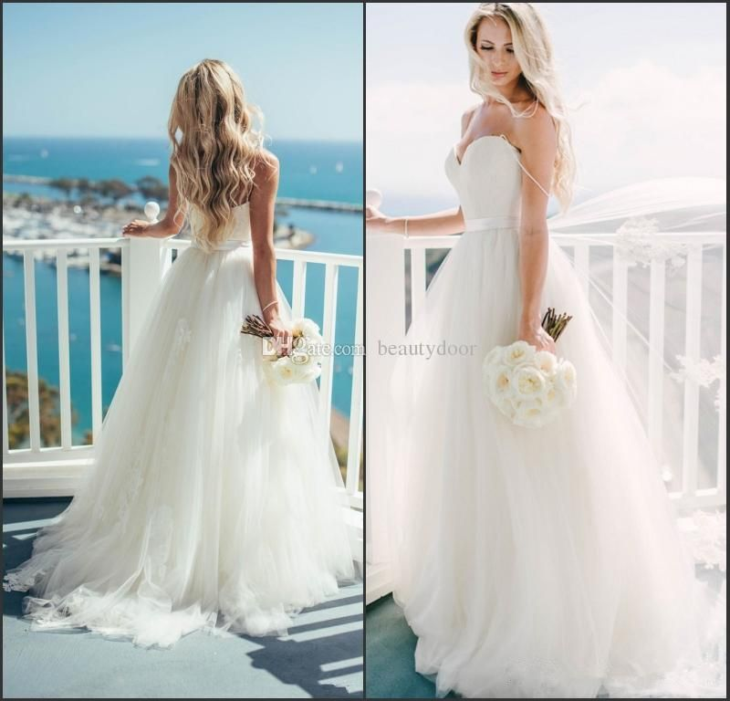 Romantic Casual Beach Wedding Dresses Cheap Spaghetti Straps Ruffled ...
