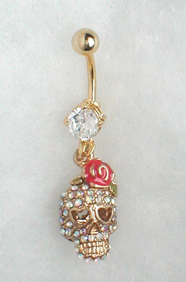 Belly button piercing earrings  Cute skull belly button ring  piercing  Pinterest  Belly button