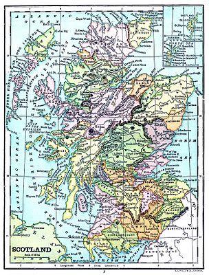 Scotland Map Mountains Large Canvas Wall Art Print