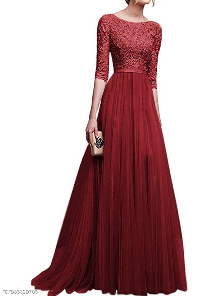 Round neck patchwork plain evening dress long dress pinterest