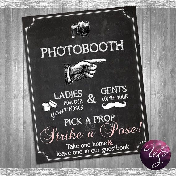 Photo Booth Sign (Printable File Only) Pointing Right