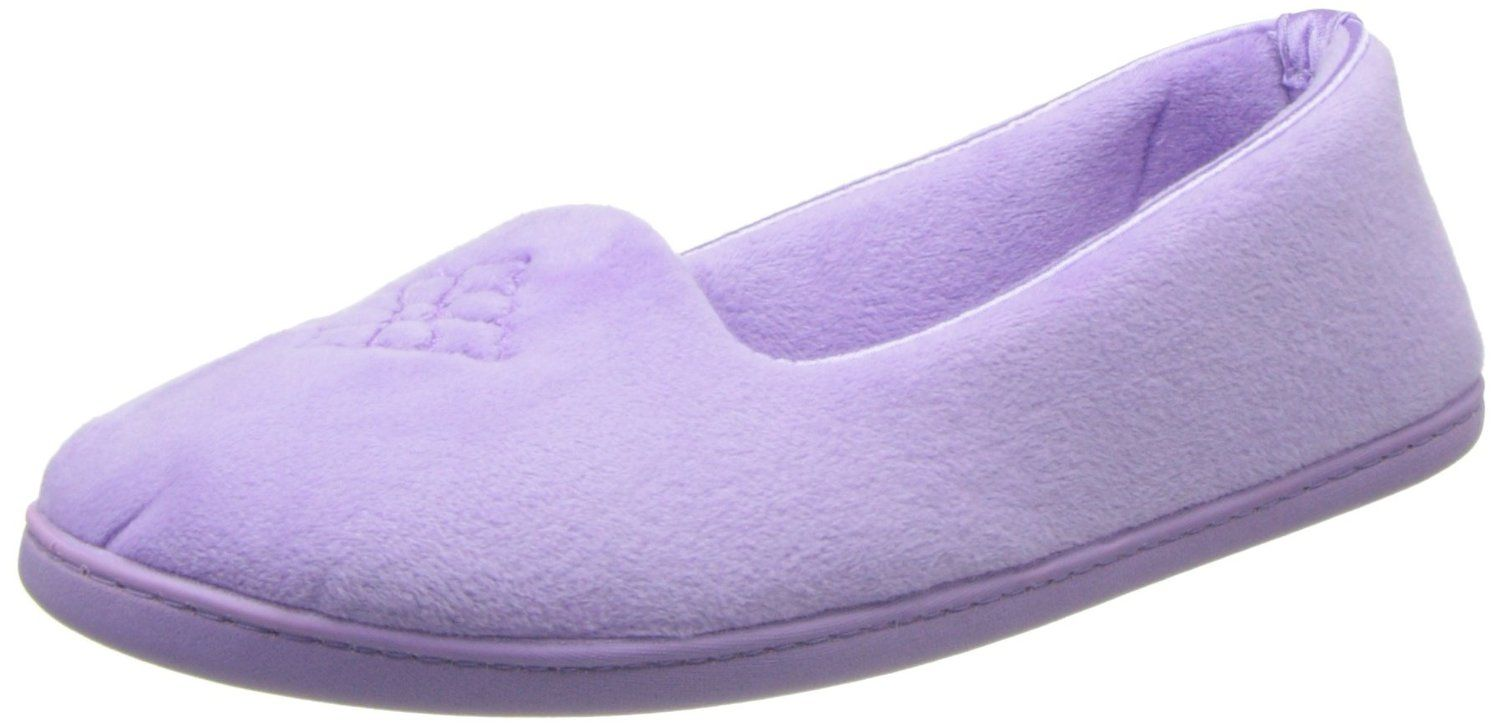 Dearfoams Women's Embroidered Closed Back Slipper,Pretty Purple,Small/5-6 M US >>> Check this awesome product by going to the link at the image.