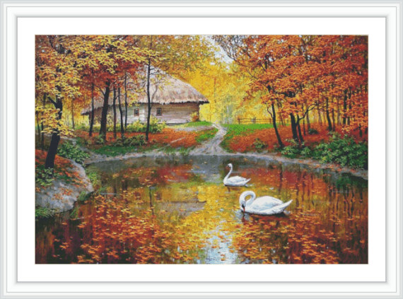 Autumn Counted Cross Stitch Pattern  Large Cross by GCStitchDIY