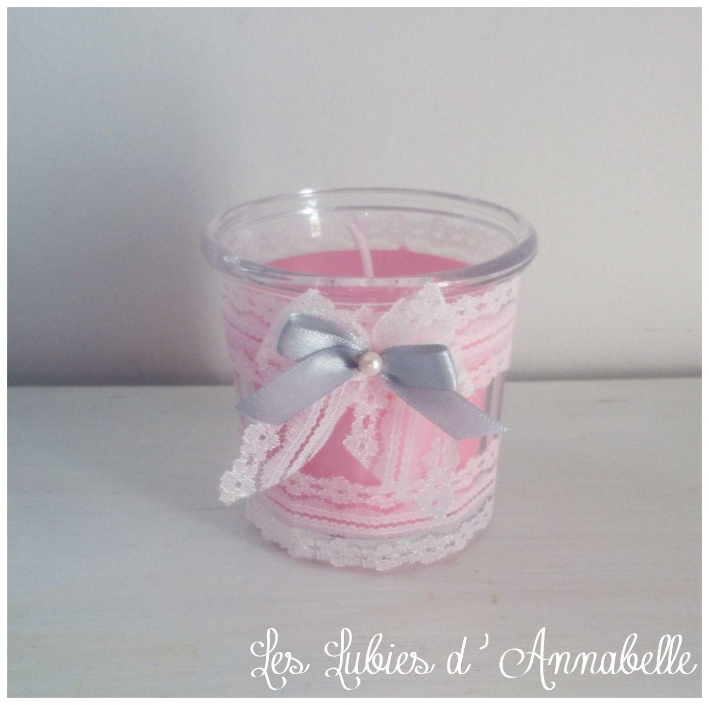 bougie pot de confiture rose avec dentelle style shabby chic parfum e la rose shabby and. Black Bedroom Furniture Sets. Home Design Ideas