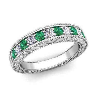 Vintage Diamond and Emerald Wedding Band