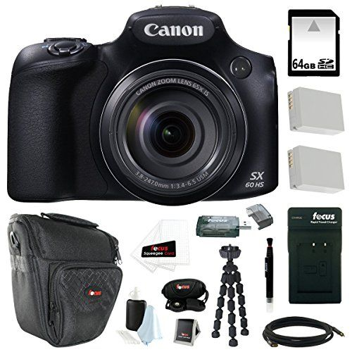 Canon Powershot Sx60 Hs 16 1mp Digital Camera With 65x Optical Zoom And Built In Wifi Nfc 64gb Deluxe Accessory Bundle Digital Camera Powershot Canon Camera