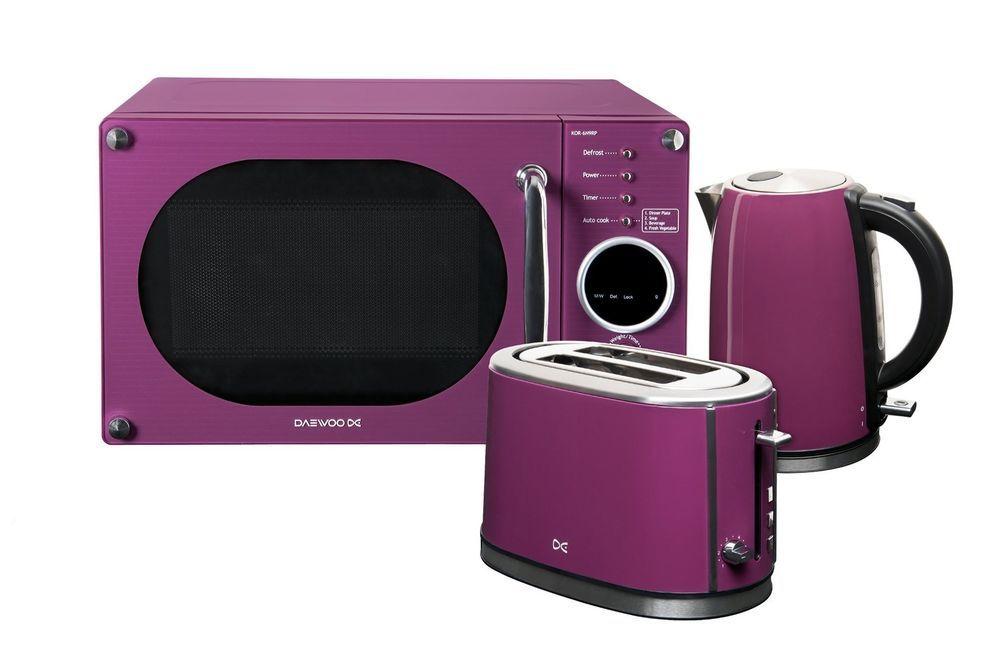 Daewoo Microwave Toaster and Kettle Package - Purple Purple   Daewoo