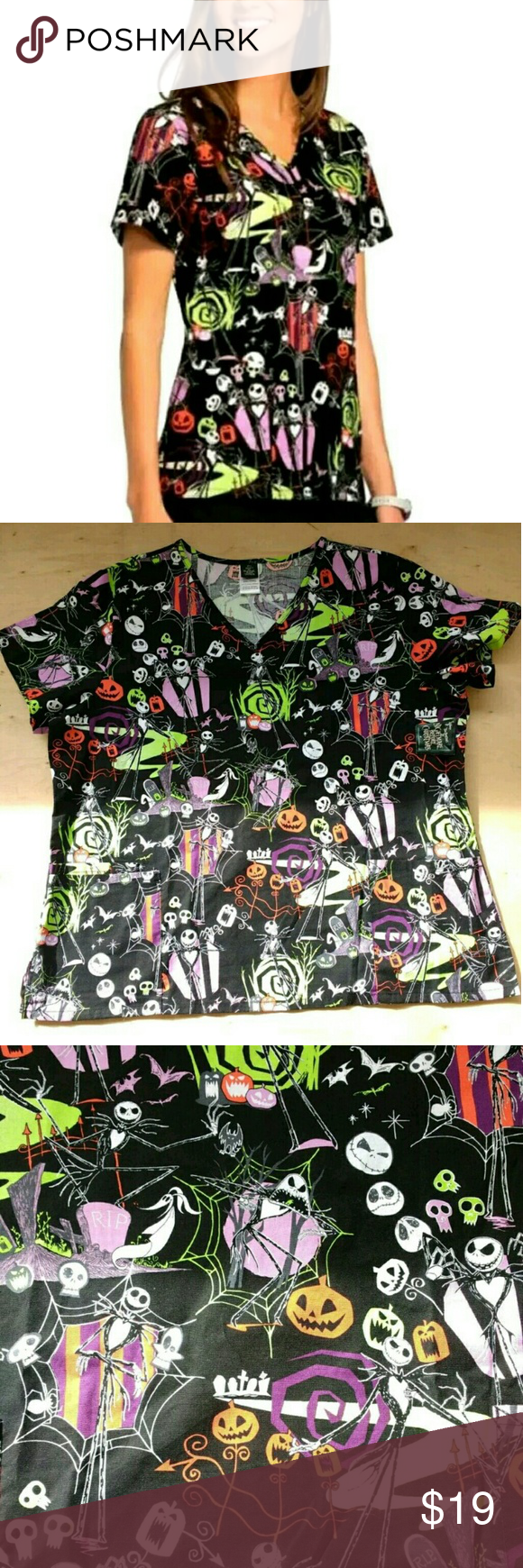 Disney THE NIGHTMARE BEFORE CHRISTMAS Scrub Top New with tags ...