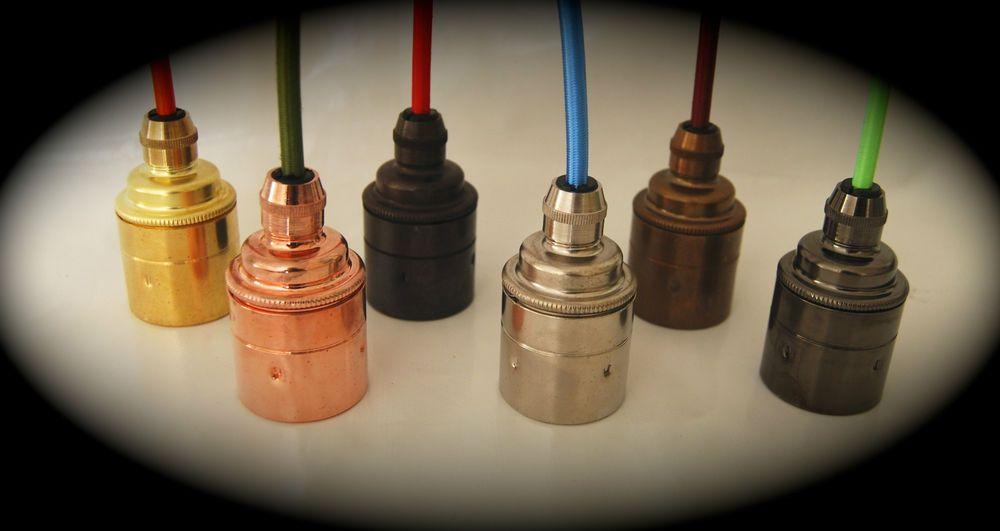Light Lamp Bulb Holder Standard Edison CORD GRIP E27 Metal PLAIN SKIRT Vintage