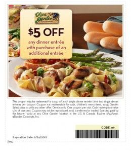 Olive Garden Printable Coupon 5 Off Two Entree Purchase Or