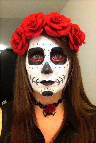 Sugar Skull Makeup Halloween Day Of The Dead Red Black White Hair Headpiece Black White Hair Headpiece Hairstyles Sugar Skull Makeup